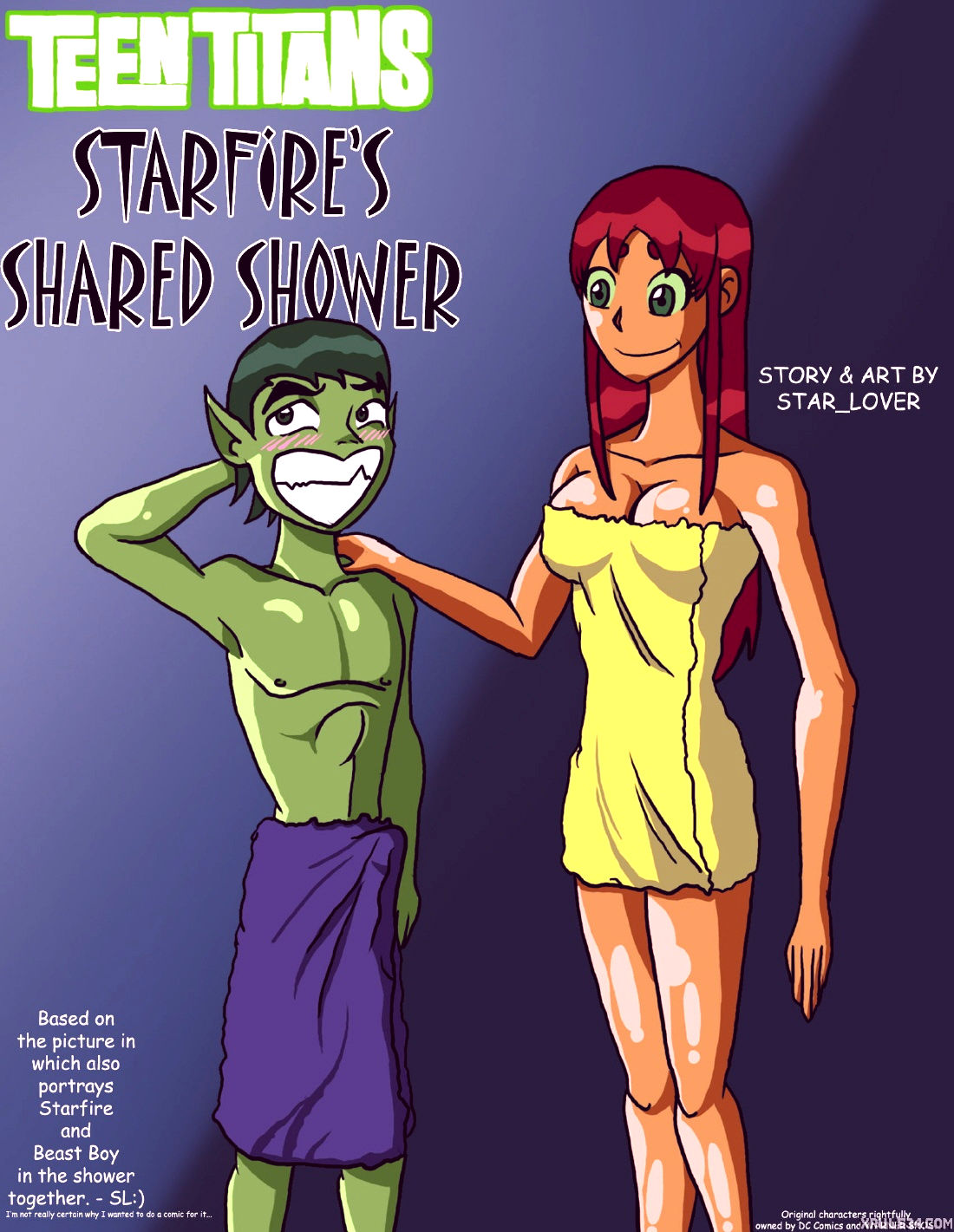 Starfires shared shower porn comic picture 1