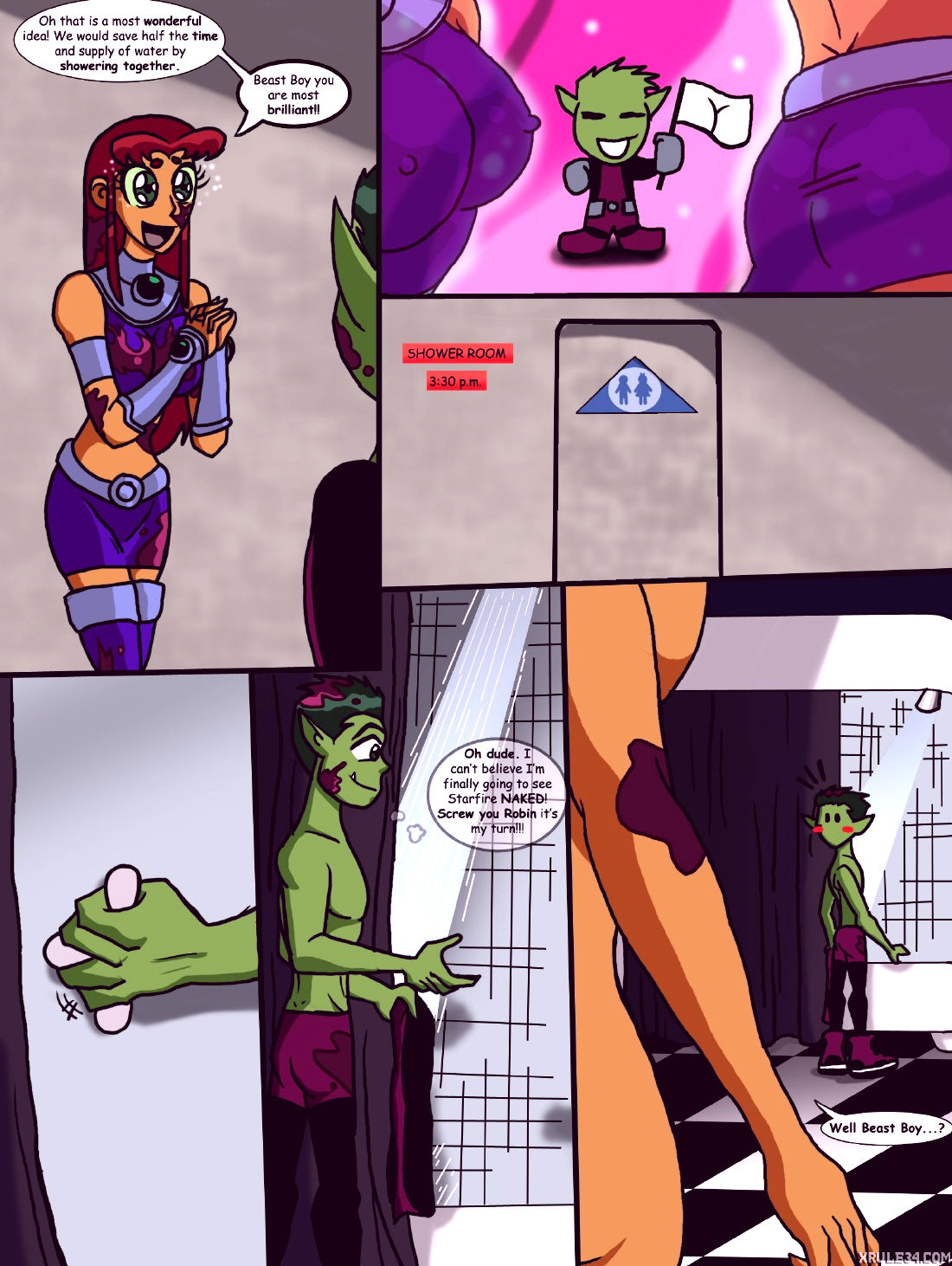 Starfires shared shower porn comic picture 3