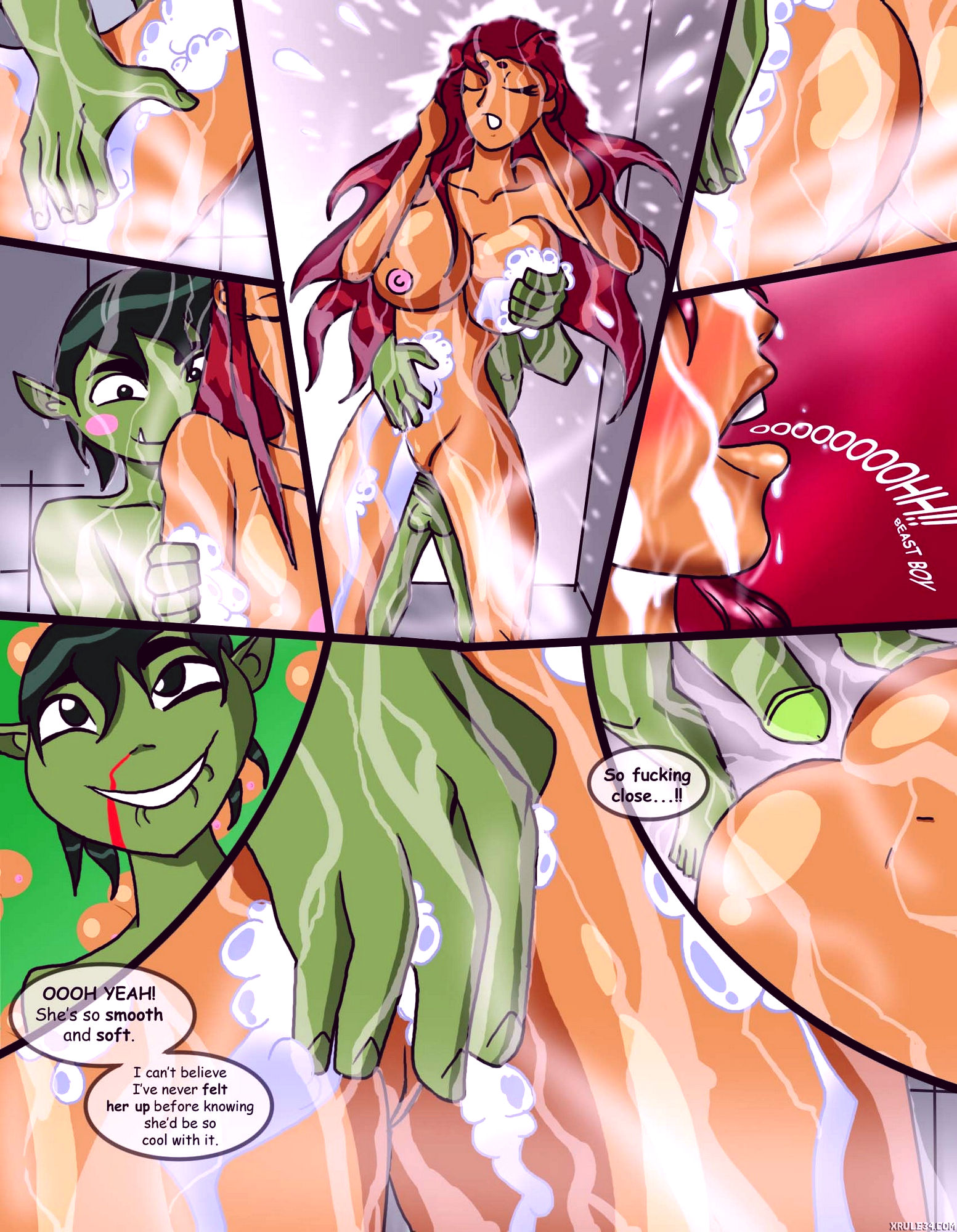 Starfires shared shower porn comic picture 7